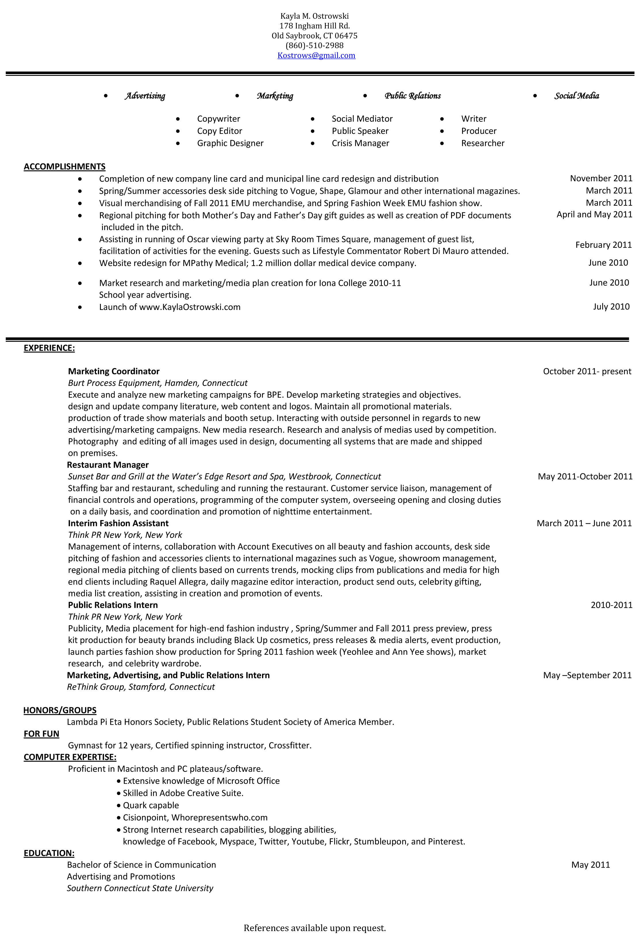 current resume mar adv soc med pr
